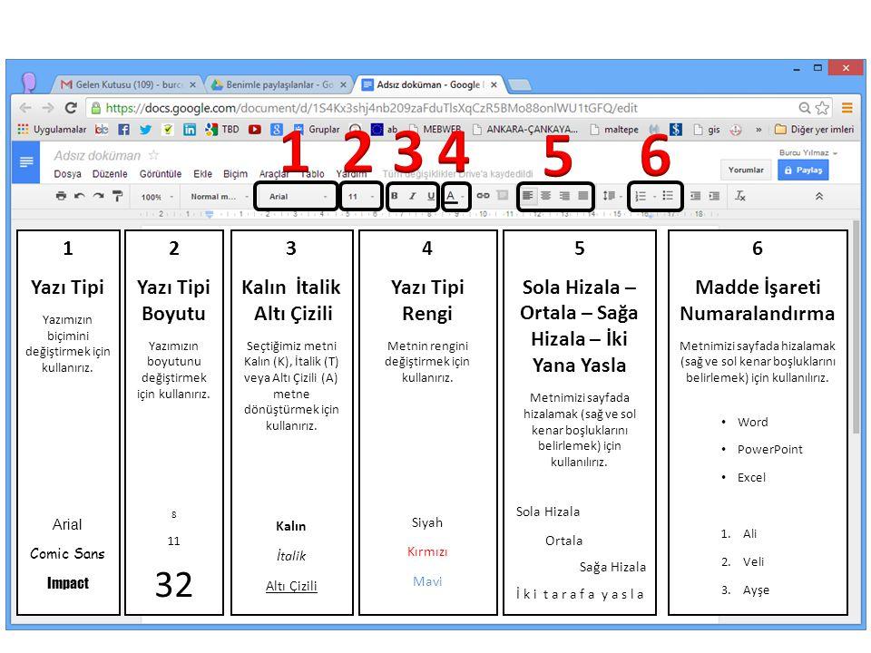 1 2 3 4 5 6 32 1 Yazı Tipi 2 Yazı Tipi Boyutu 3