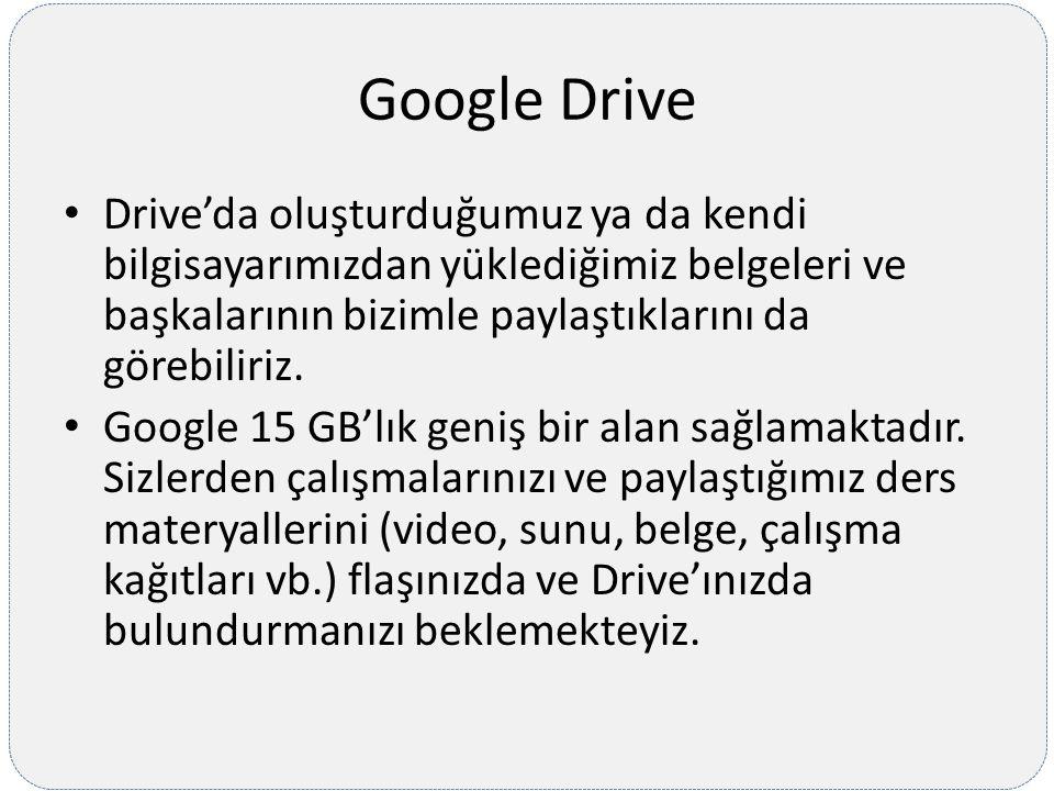 Google Drive Drive'da oluşturduğumuz ya da kendi bilgisayarımızdan yüklediğimiz belgeleri ve başkalarının bizimle paylaştıklarını da görebiliriz.