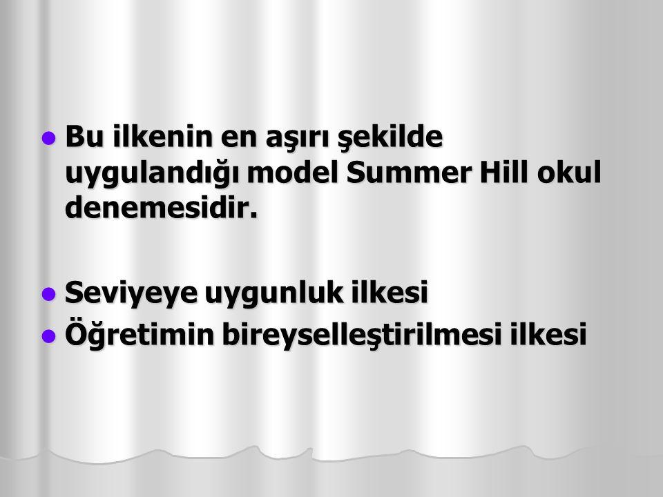 Bu ilkenin en aşırı şekilde uygulandığı model Summer Hill okul denemesidir.