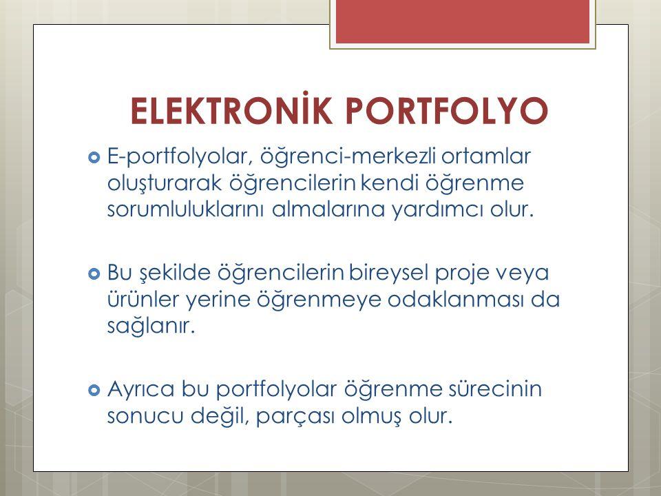 ELEKTRONİK PORTFOLYO E-portfolyolar, öğrenci-merkezli ortamlar oluşturarak öğrencilerin kendi öğrenme sorumluluklarını almalarına yardımcı olur.