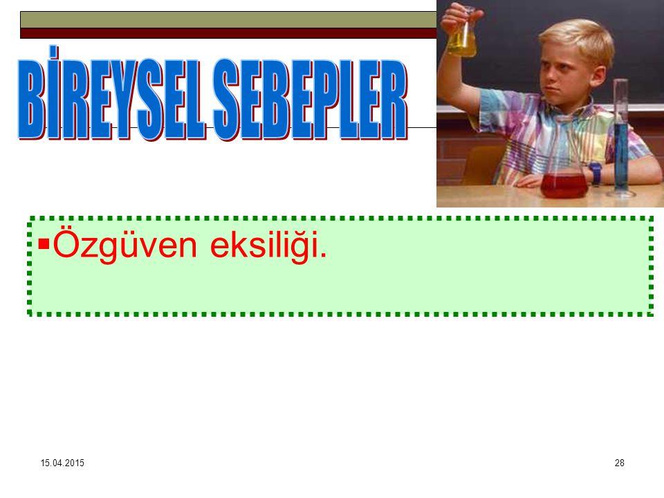 BİREYSEL SEBEPLER Özgüven eksiliği. 12.04.2017