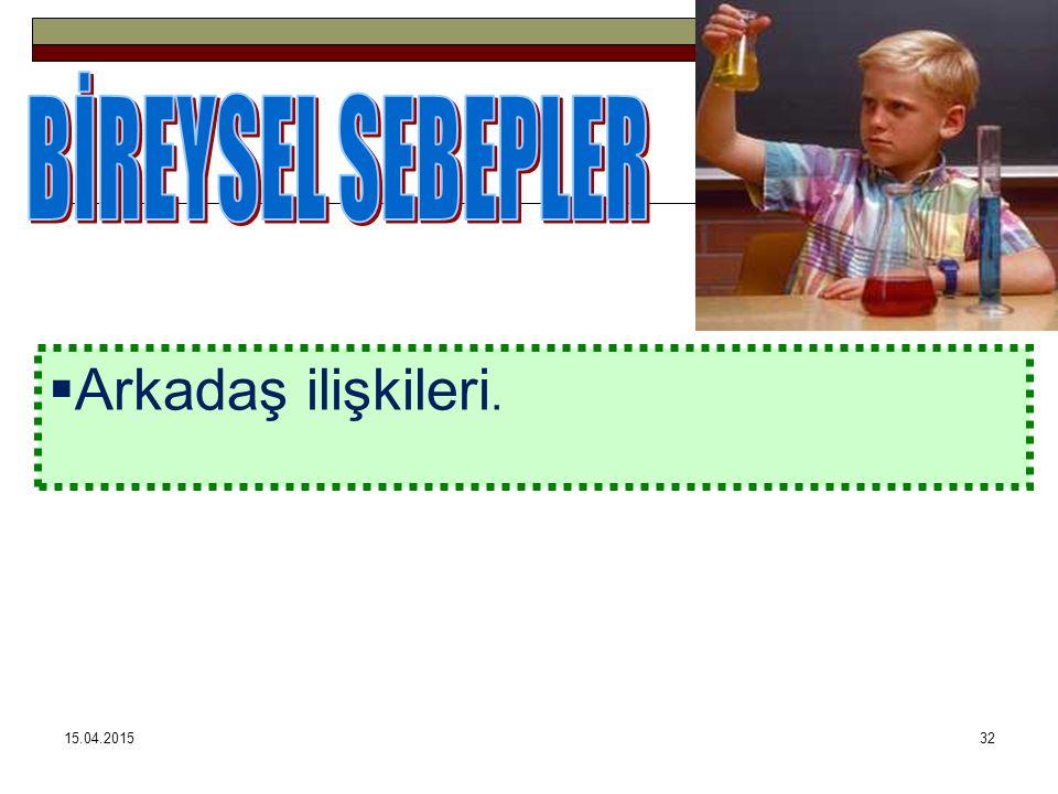 BİREYSEL SEBEPLER Arkadaş ilişkileri. 12.04.2017