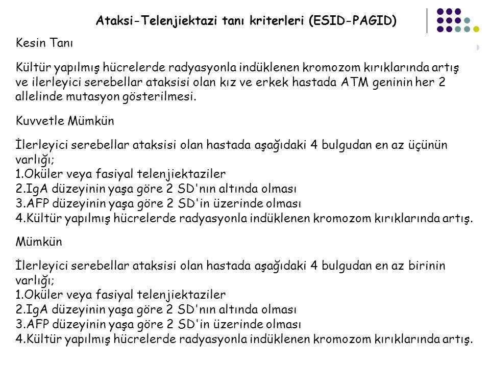 Ataksi-Telenjiektazi tanı kriterleri (ESID-PAGID)