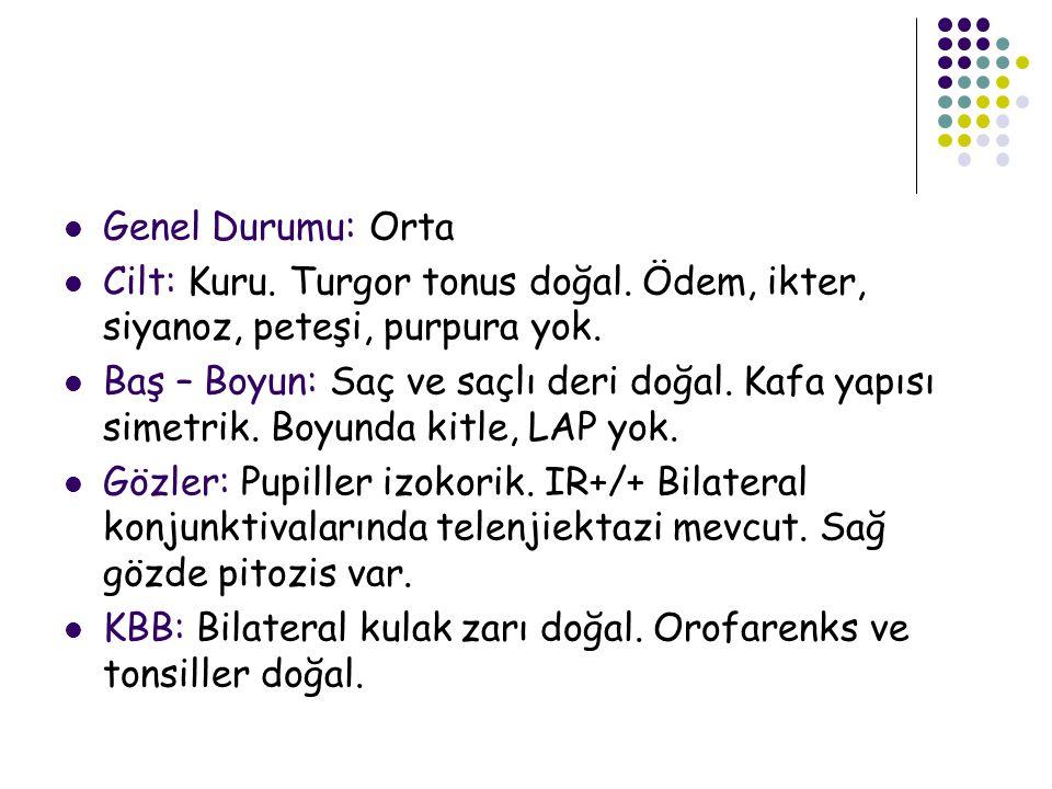 Genel Durumu: Orta Cilt: Kuru. Turgor tonus doğal. Ödem, ikter, siyanoz, peteşi, purpura yok.