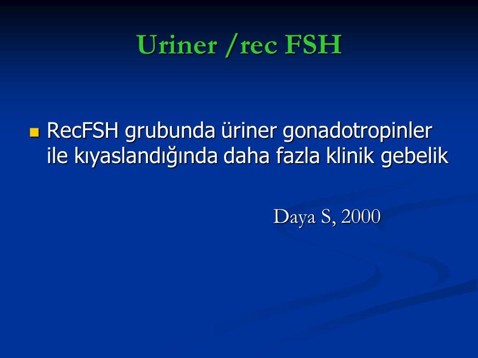 Uriner /rec FSH RecFSH grubunda üriner gonadotropinler ile kıyaslandığında daha fazla klinik gebelik.