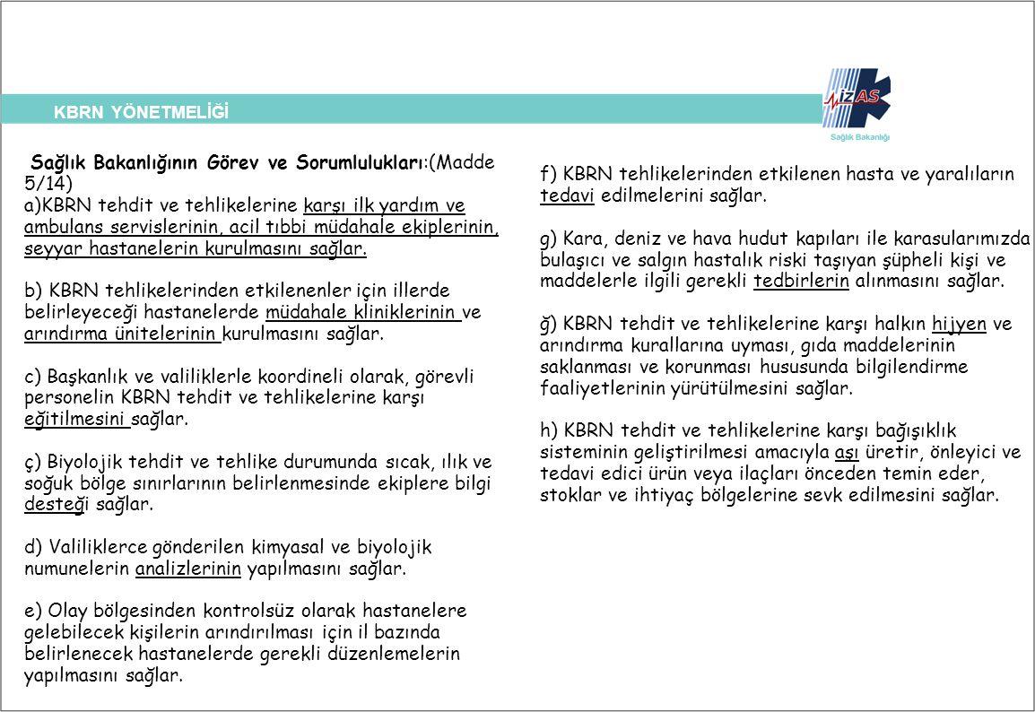 Sağlık Bakanlığının Görev ve Sorumlulukları:(Madde 5/14)