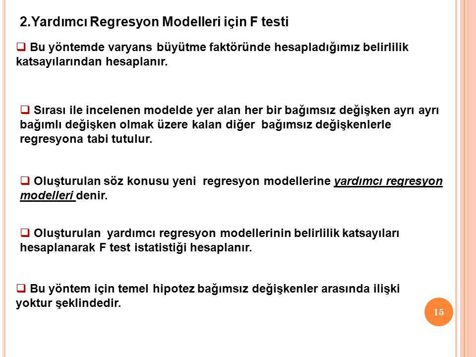 2.Yardımcı Regresyon Modelleri için F testi