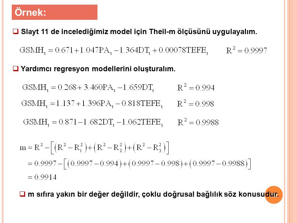 Örnek: Slayt 11 de incelediğimiz model için Theil-m ölçüsünü uygulayalım. Yardımcı regresyon modellerini oluşturalım.