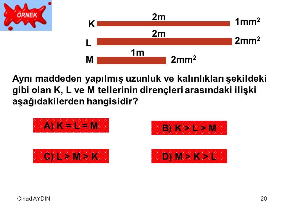 2m 1mm2. K. 2m. 2mm2. L. 1m. M. 2mm2.