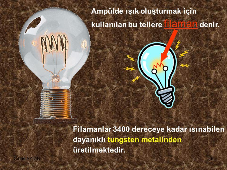 Ampülde ışık oluşturmak için kullanılan bu tellere filaman denir.