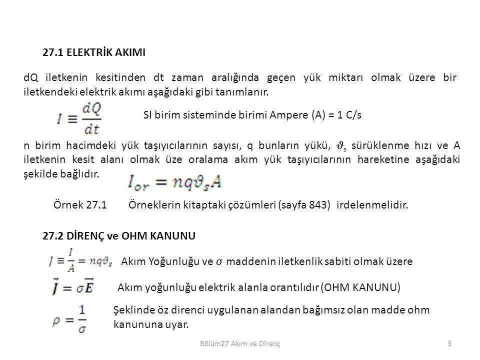 SI birim sisteminde birimi Ampere (A) = 1 C/s