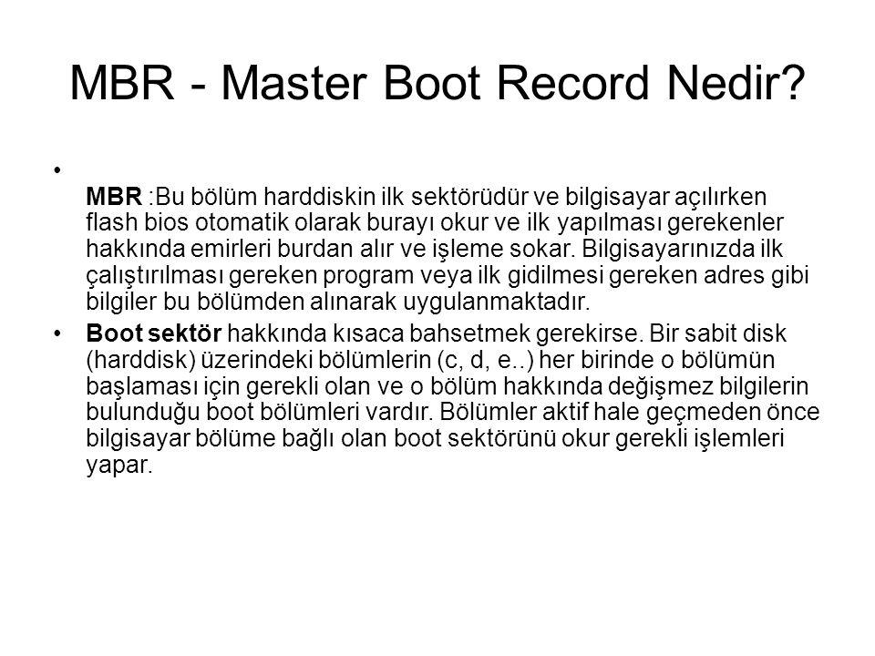 MBR - Master Boot Record Nedir