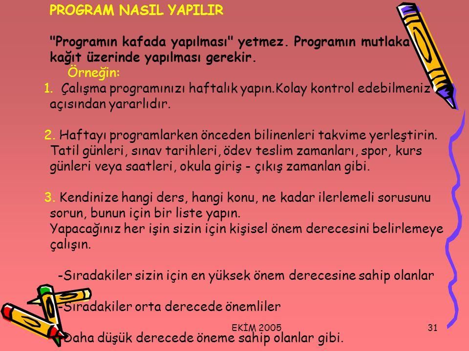 PROGRAM NASIL YAPILIR Programın kafada yapılması yetmez