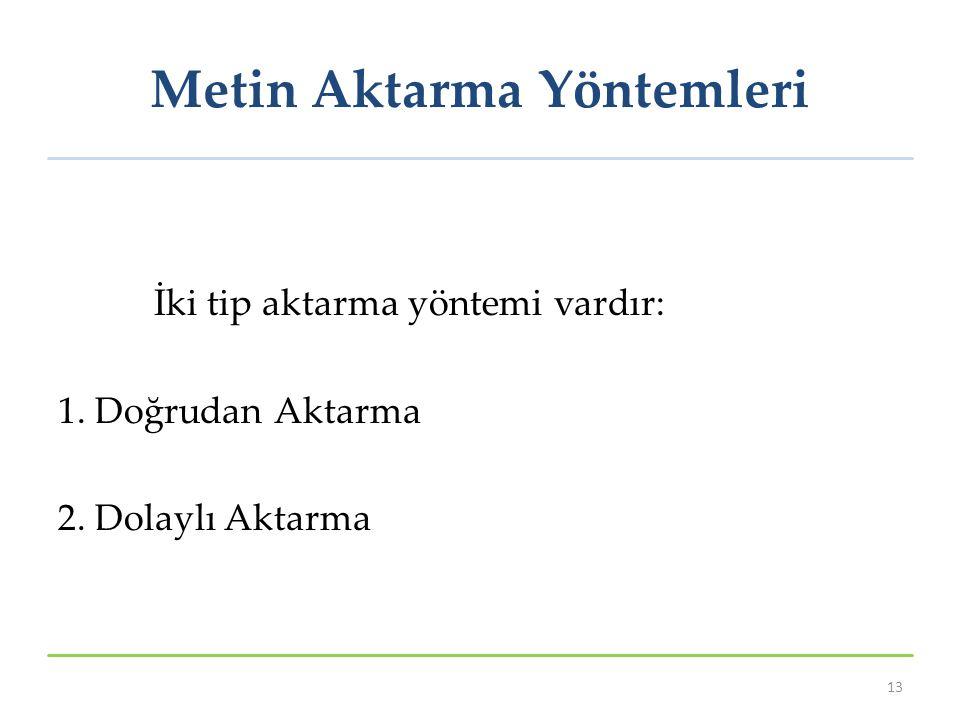Metin Aktarma Yöntemleri