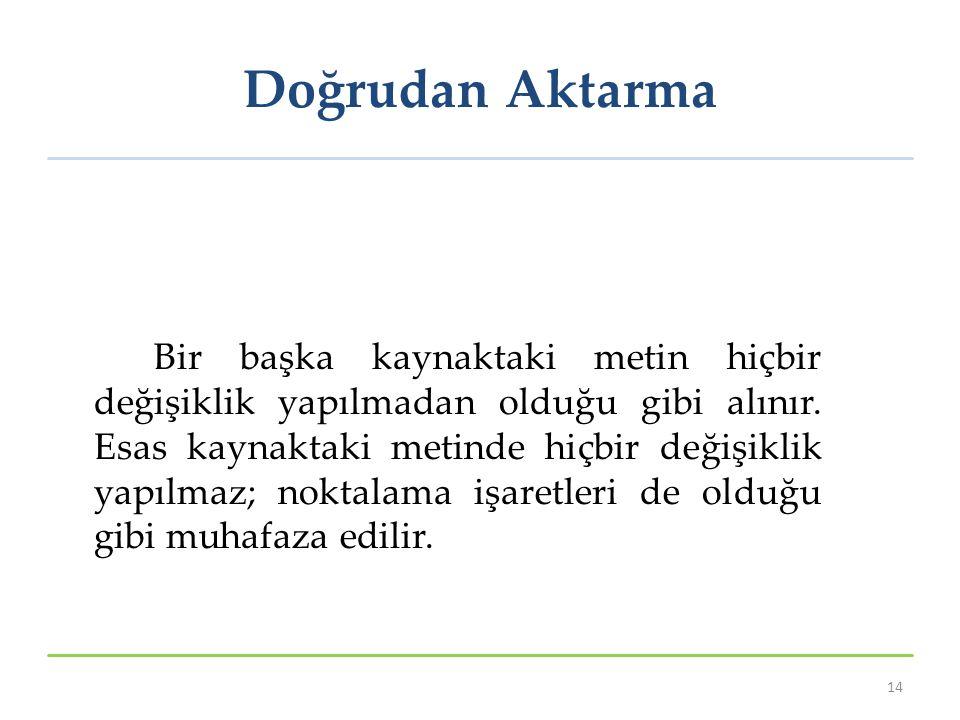 Doğrudan Aktarma