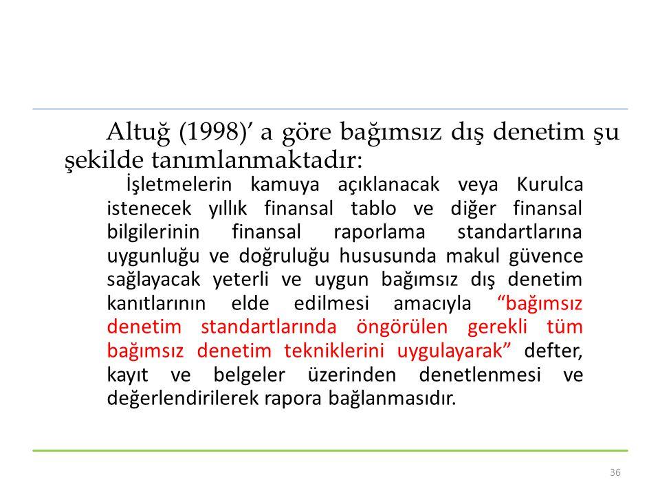 Altuğ (1998)' a göre bağımsız dış denetim şu şekilde tanımlanmaktadır: