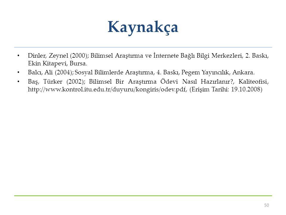 Kaynakça Dinler, Zeynel (2000); Bilimsel Araştırma ve İnternete Bağlı Bilgi Merkezleri, 2. Baskı, Ekin Kitapevi, Bursa.