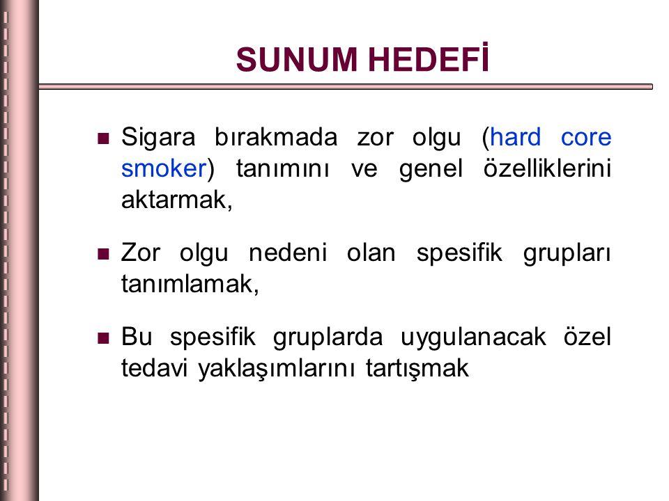 SUNUM HEDEFİ Sigara bırakmada zor olgu (hard core smoker) tanımını ve genel özelliklerini aktarmak,