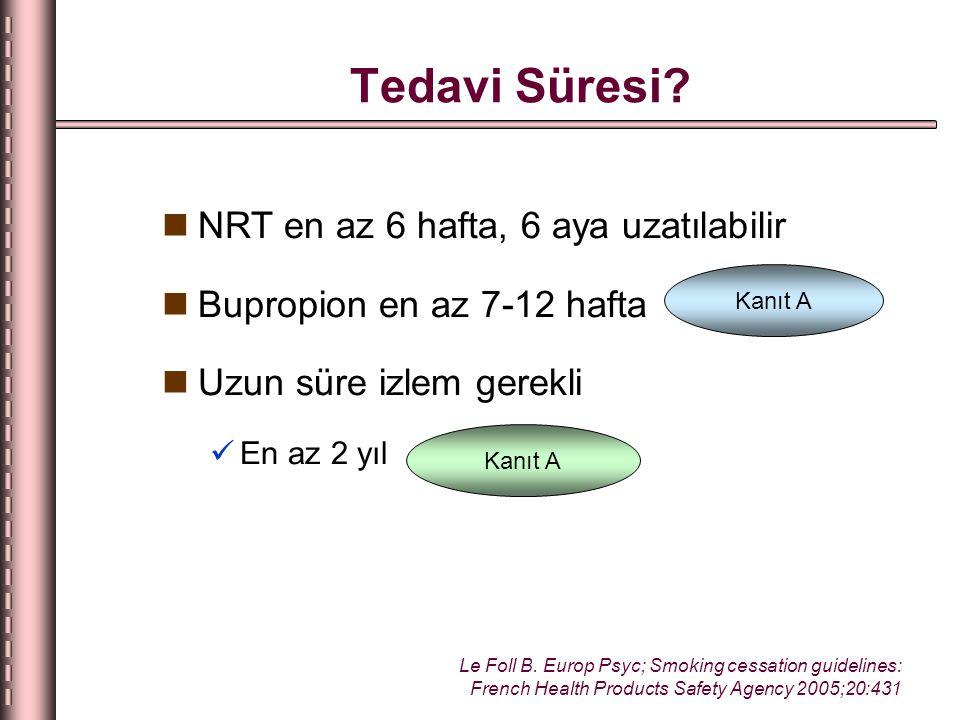 Tedavi Süresi NRT en az 6 hafta, 6 aya uzatılabilir