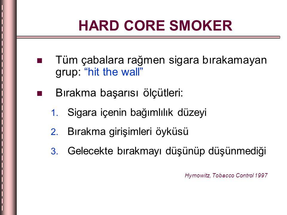 HARD CORE SMOKER Tüm çabalara rağmen sigara bırakamayan grup: hit the wall Bırakma başarısı ölçütleri: