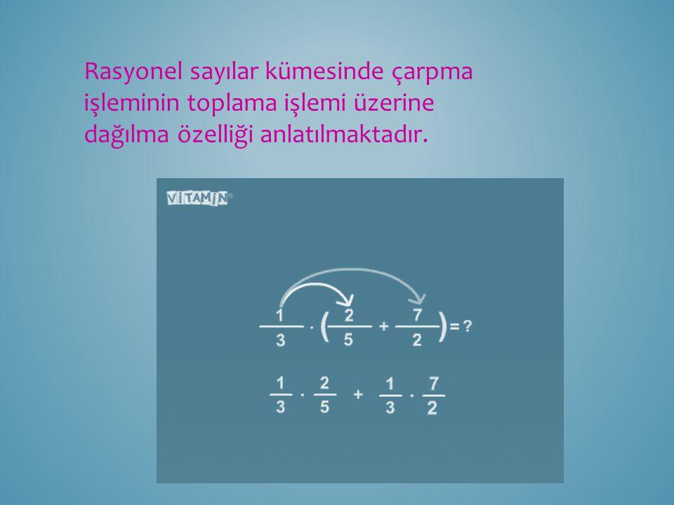 Rasyonel sayılar kümesinde çarpma işleminin toplama işlemi üzerine dağılma özelliği anlatılmaktadır.