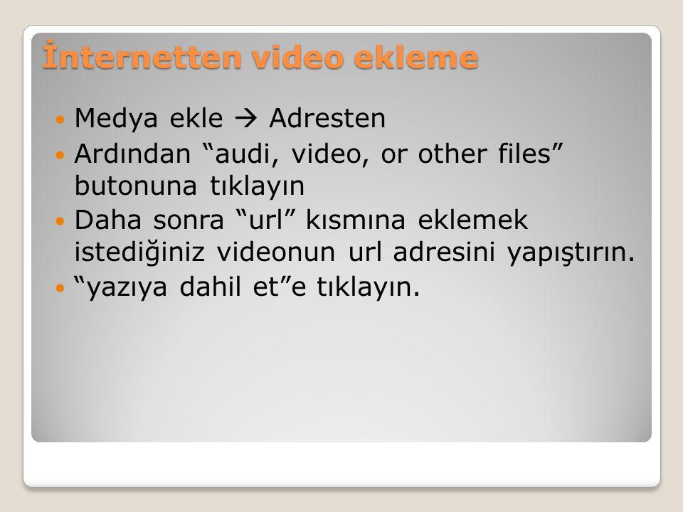İnternetten video ekleme