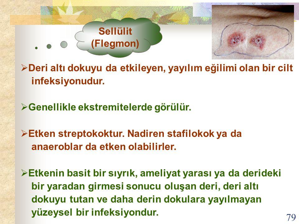 Sellülit (Flegmon) Deri altı dokuyu da etkileyen, yayılım eğilimi olan bir cilt. infeksiyonudur. Genellikle ekstremitelerde görülür.