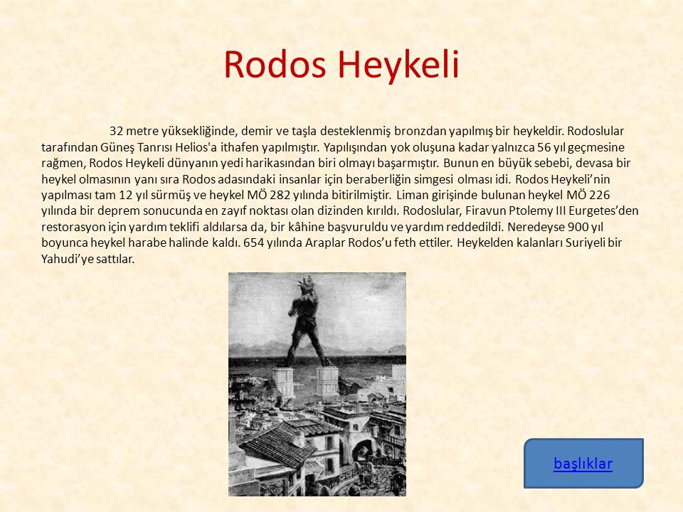 Rodos Heykeli başlıklar