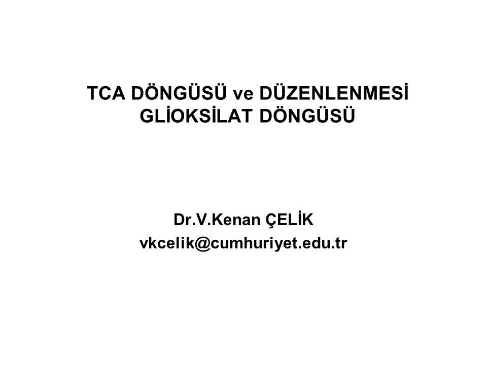 TCA DÖNGÜSÜ ve DÜZENLENMESİ GLİOKSİLAT DÖNGÜSÜ