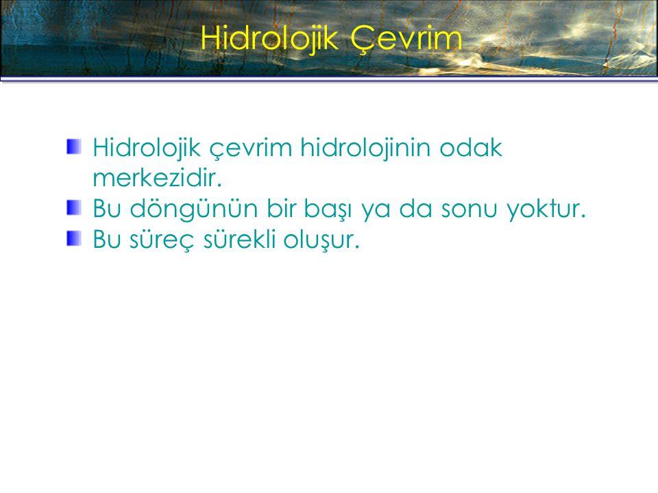 Hidrolojik Çevrim Hidrolojik çevrim hidrolojinin odak merkezidir.