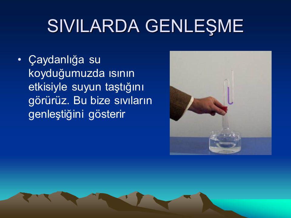 SIVILARDA GENLEŞME Çaydanlığa su koyduğumuzda ısının etkisiyle suyun taştığını görürüz.