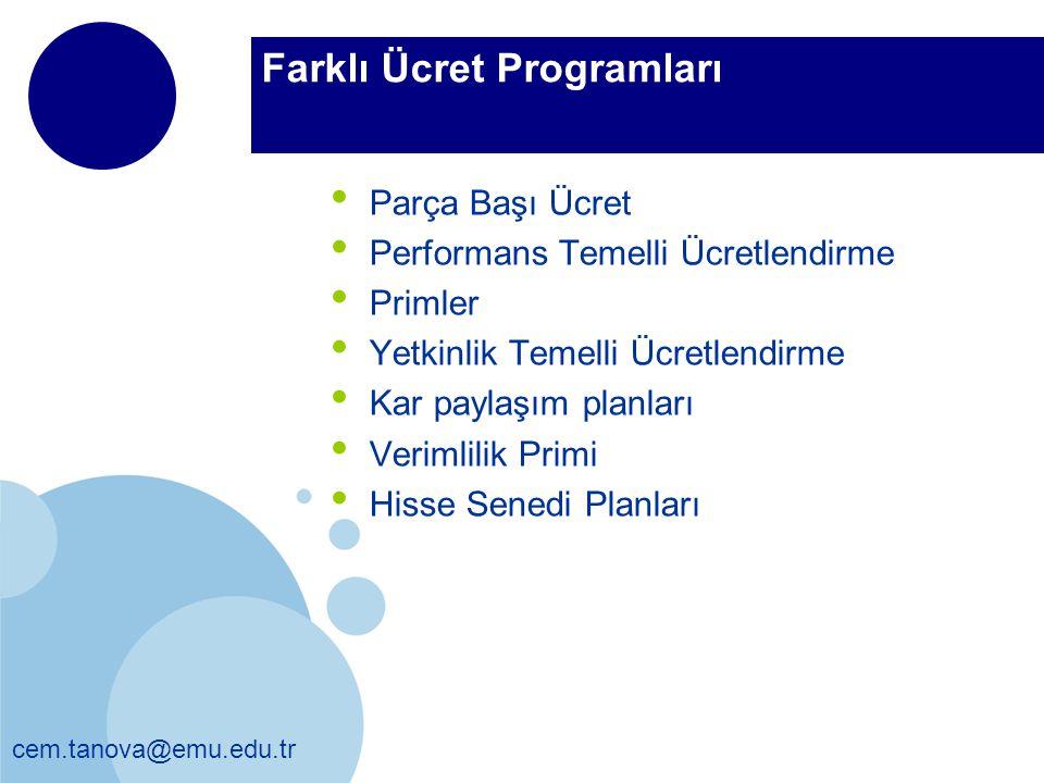 Farklı Ücret Programları