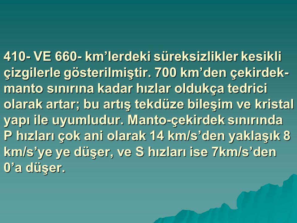 410- VE 660- km'lerdeki süreksizlikler kesikli çizgilerle gösterilmiştir.