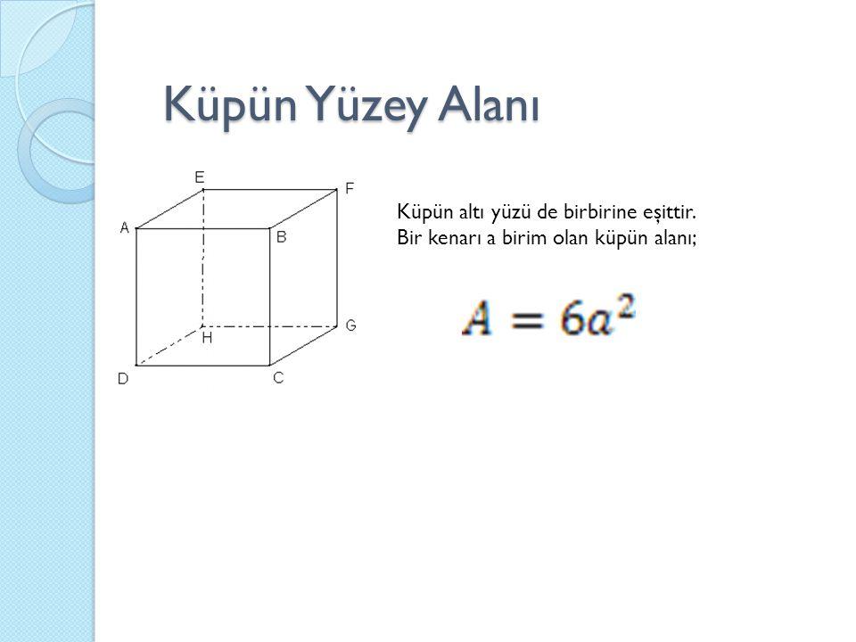 Küpün Yüzey Alanı Küpün altı yüzü de birbirine eşittir.