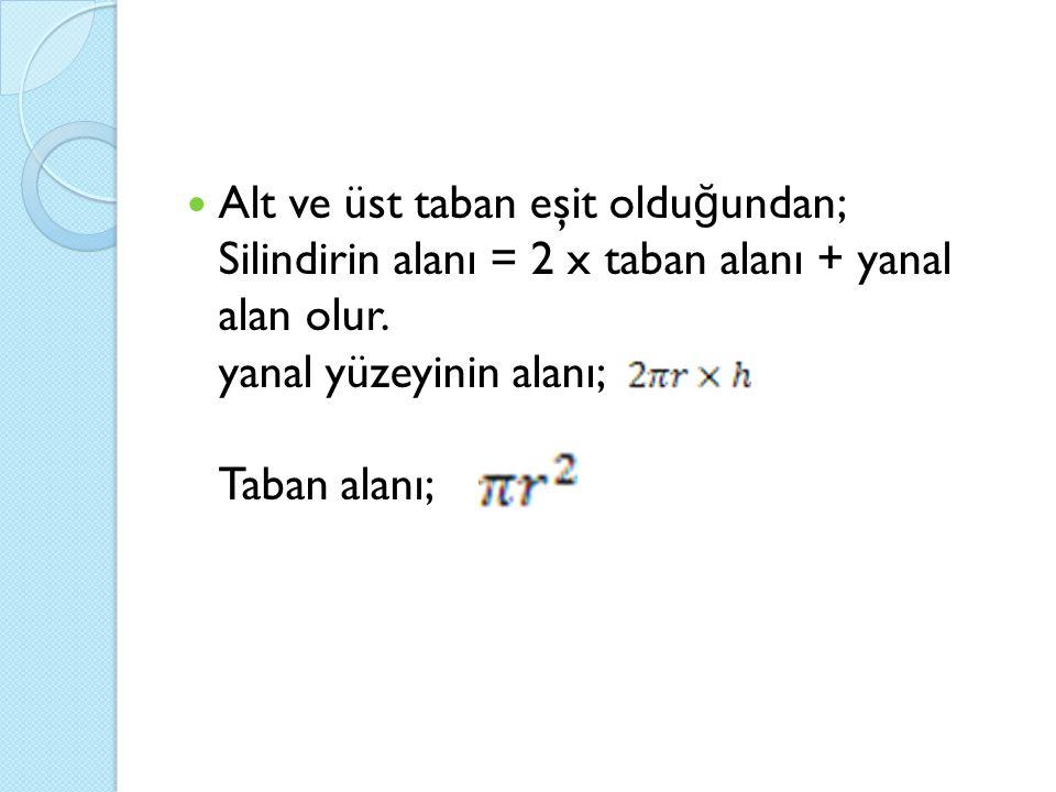 Alt ve üst taban eşit olduğundan; Silindirin alanı = 2 x taban alanı + yanal alan olur.