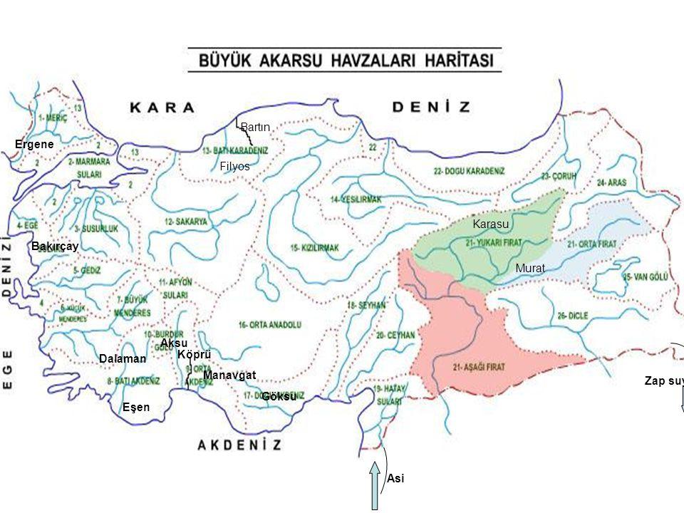 Bartın Ergene Filyos Karasu Bakırçay Murat Aksu Dalaman Köprü Manavgat Zap suyu Göksu Eşen Asi