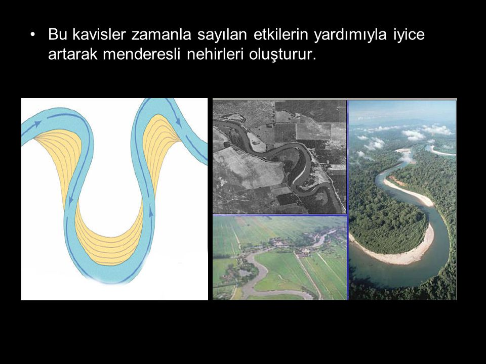 Bu kavisler zamanla sayılan etkilerin yardımıyla iyice artarak menderesli nehirleri oluşturur.