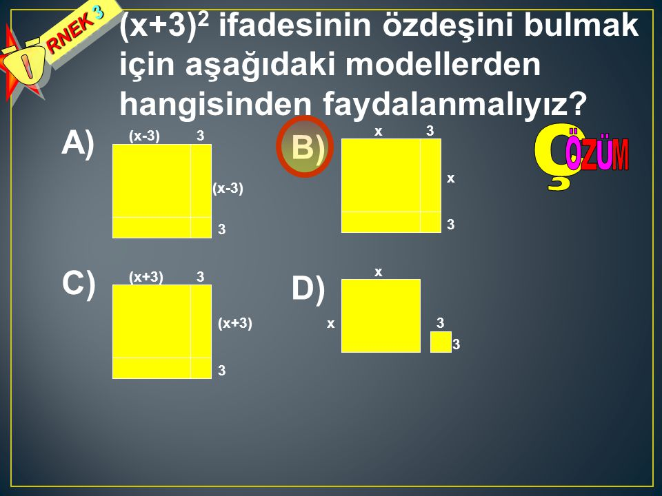 RNEK 3 Ö. (x+3)2 ifadesinin özdeşini bulmak için aşağıdaki modellerden hangisinden faydalanmalıyız