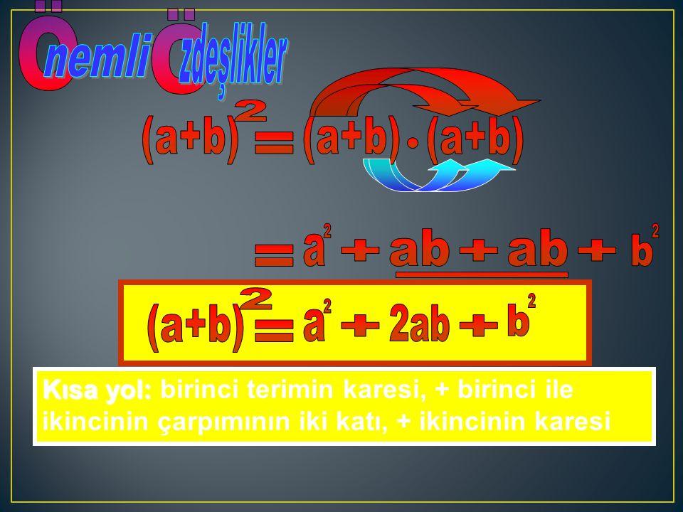 Ö nemli zdeşlikler (a+b) 2 (a+b) (a+b) = a 2 b 2 ab ab + + + = (a+b) 2