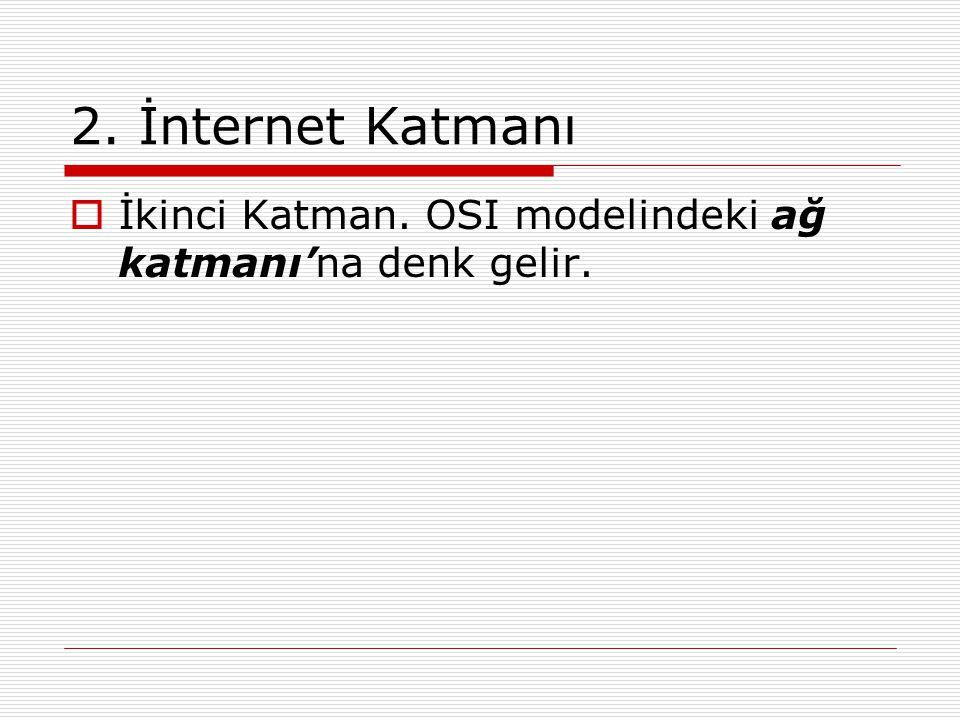 2. İnternet Katmanı İkinci Katman. OSI modelindeki ağ katmanı'na denk gelir.