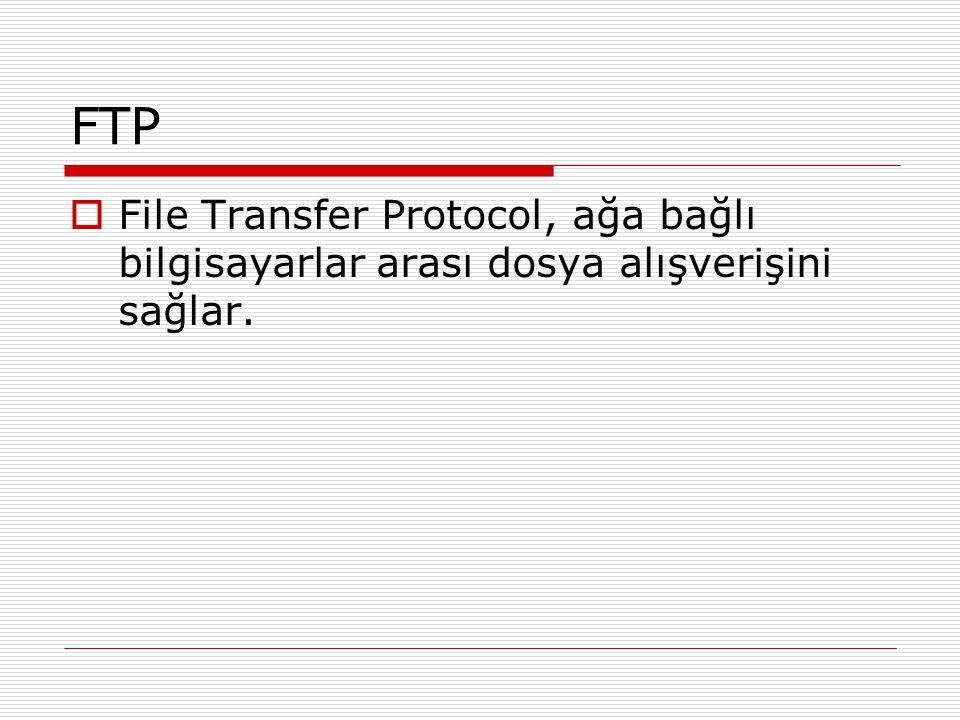 FTP File Transfer Protocol, ağa bağlı bilgisayarlar arası dosya alışverişini sağlar.