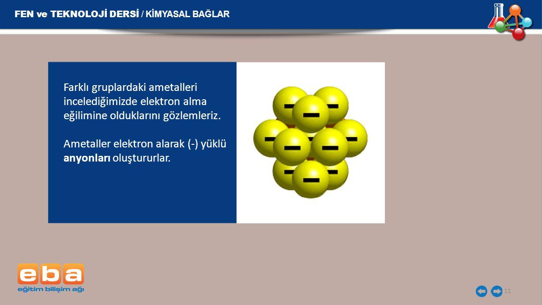 FEN ve TEKNOLOJİ DERSİ / KİMYASAL BAĞLAR