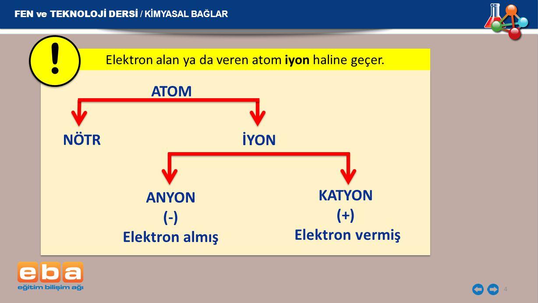 Elektron alan ya da veren atom iyon haline geçer.