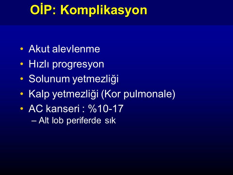 OİP: Komplikasyon Akut alevlenme Hızlı progresyon Solunum yetmezliği