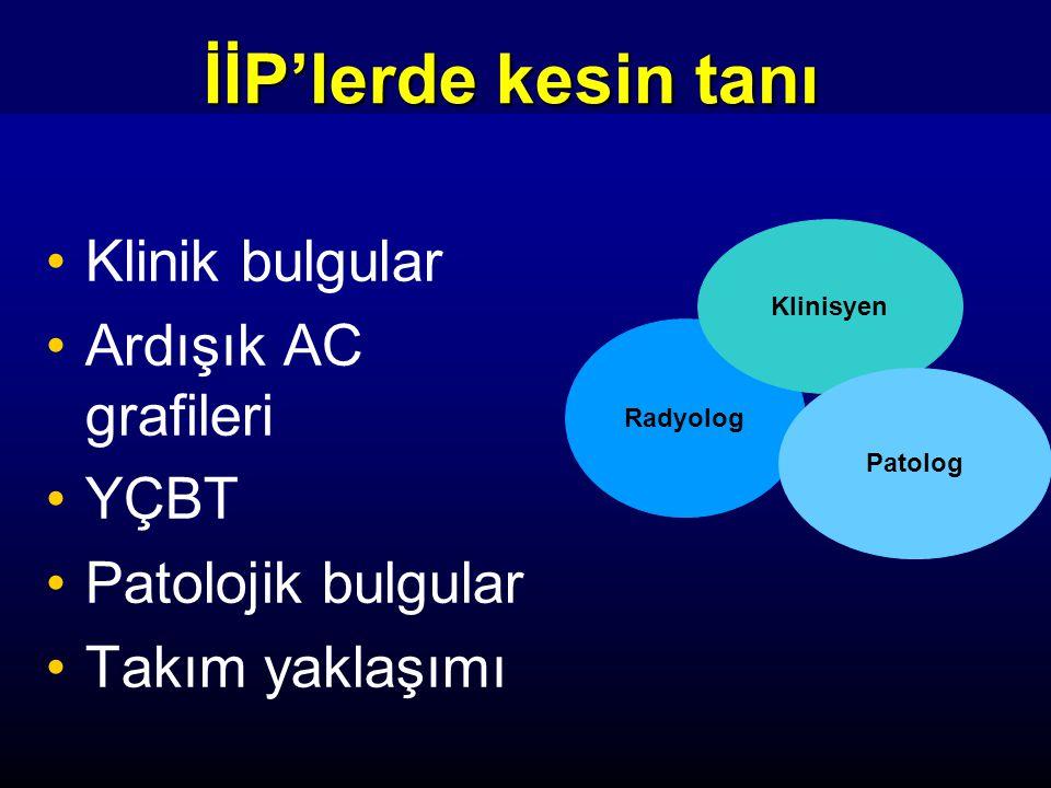 İİP'lerde kesin tanı Klinik bulgular Ardışık AC grafileri YÇBT