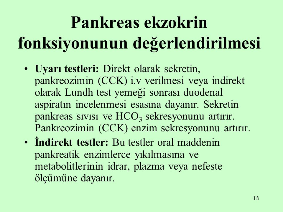Pankreas ekzokrin fonksiyonunun değerlendirilmesi