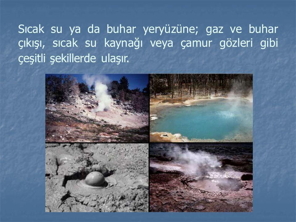 Sıcak su ya da buhar yeryüzüne; gaz ve buhar çıkışı, sıcak su kaynağı veya çamur gözleri gibi çeşitli şekillerde ulaşır.