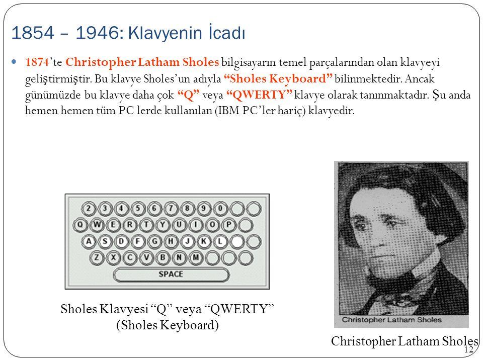 1854 – 1946: Klavyenin İcadı