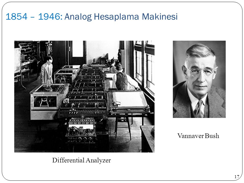 1854 – 1946: Analog Hesaplama Makinesi