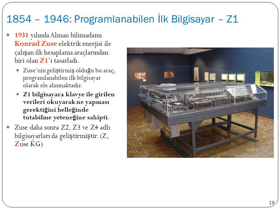 1854 – 1946: Programlanabilen İlk Bilgisayar – Z1